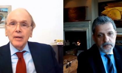 Daniel Yergin y Orlando Ayala en el encuentro virtual este lunes.