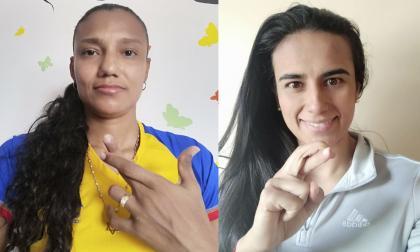La barranquillera Kelis Peduzine, asistente técnica de las Tiburonas y Gabriela Huertas, destacada jugadora de Santa Fe y la selección Colombia.