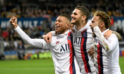 Mbappé, Icardi y Neymar celebrando con el PSG.