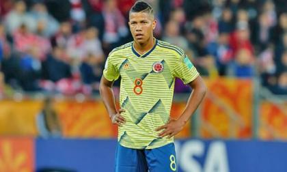 Jaime Alvarado en un partido con la selección Colombia juvenil.