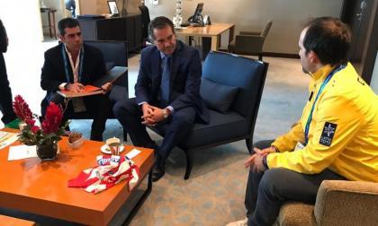 Alejandro Char, Neven Ilic y Ernesto Lucena se reunieron en Lima, el 26 de julio de 2019, día de la inauguración de los Juegos Panamericanos 2019.