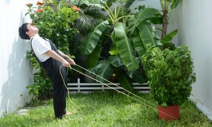 Cinthya Escorcia durante el video 'Seis pies de distancia', pieza para el programa Imagen Regional 9.