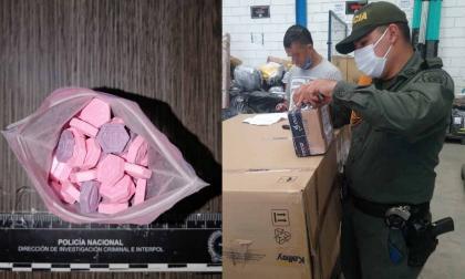 La droga incautada en una empresa de encomiendas.