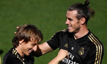 Luka Modric junto al galés Gareth Bale en un entrenamiento del Real Madrid.