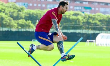 Lionel Messi, durante un entrenamiento del FC Barcelona.