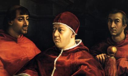 Detalle del retrato del Papa León X rodeado de dos cardenales. La pieza pintada por Rafael Sanzio reposa en la Galería de los Uffizi de Florencia, Italia.