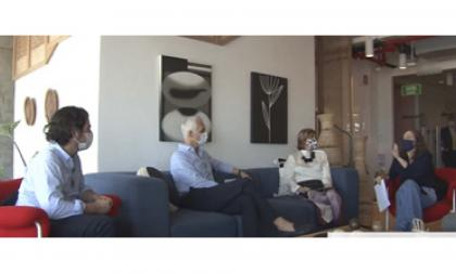 José Aguirre, director ejecutivo de la Fundación Santo Domingo, Alberto Vives, gerente de la Andi seccional Atlántico-Magdalena, Mabel Gutiérrez, Directora de Desarrollo Regional de Camcomercio y Ana María Badel, quien  modera el panel.