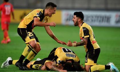 Los jugadores de Coquimbo celebran la clasificación.