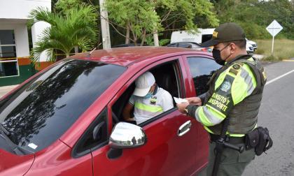 Controles de la seccional de la Seccional de Tránsito y Transportes de la Policía de Cartagena.