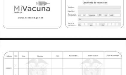 Colombianos tendrán carné de vacunación para covid-19