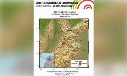Tres sismos sacuden el norte de Colombia