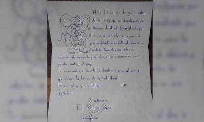 Peculiar carta del 'Ratón Pérez' a una niña por diente mal cepillado es viral en Twitter