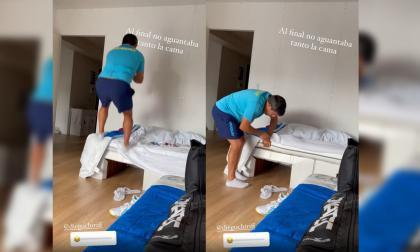 Entrenador prueba cama 'antisexo' en los Juegos Olímpicos Tokio 2020 y la rompe