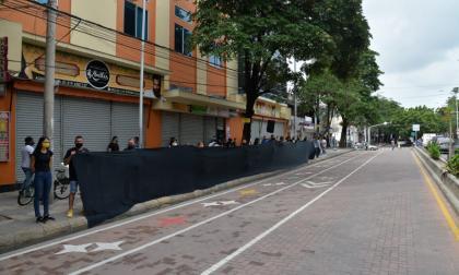 Protesta pacífica de comerciantes del centro de Barranquilla