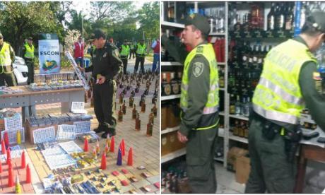 El comandante Ramiro Castrillón con la pólvora y el licor incautado (izq) . La Policía hizo operativos en varios puntos de la ciudad (der).