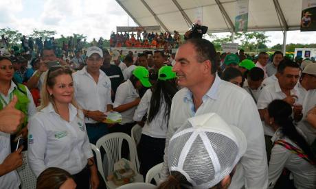 El ministro Iragorri durante el evento en San Pelayo.
