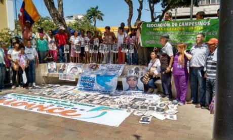 Aspectos de la manifestación, en Sincelejo.