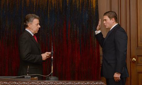 Juan Manuel Santos y exembajador de Colombia en Washington, Juan Carlos Pinzón.