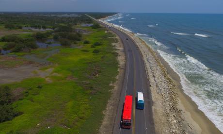 Tramo del km 19, donde se ubica el punto crítico de la vía Barranquilla-Ciénaga.