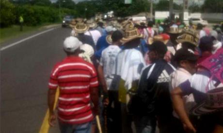 """Indígenas de Córdoba se unieron a la minga """"por los derechos humanos"""" en Sucre"""