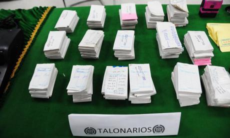Talonarios de apuestas de la 'Blanquita', decomisados este año por la Policía.