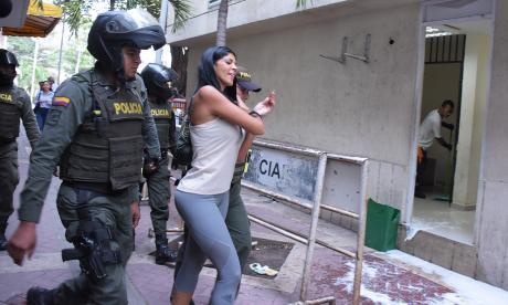 Liliana Campos Puello, la 'Madame', cuando fue trasladada al complejo judicial en Cartagena.