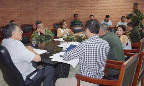 Aspecto del consejo de seguridad que se efectuó ayer, en la Gobernación de Sucre.
