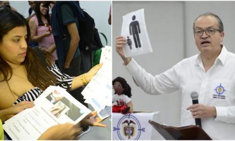 Estudiantes con imágenes que la Procuraduría utilizará para hacer la indagación preliminar anunciada por el procurador Fernando Carrillo.