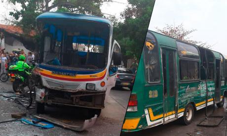 Chocan dos buses de servicio público en el barrio Los Pinos: 20 heridos