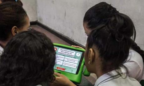Estudiantes del colegio Inobasol de Soledad participando de la campaña de prevención de la Cruz Roja.
