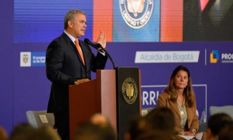 El presidente Duque en su intervención en la Macrorrueda Bicentenario.