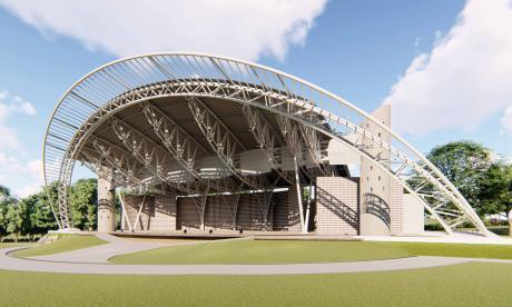 Render de la concha acústica, un escenario moderno que quedará a cinco minutos del casco urbano.