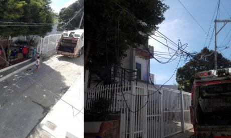 Comunidad retiene camión de la Triple A que los dejó sin luz tras tropezar cableado