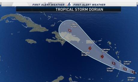Tormenta tropical Dorian amenaza el Caribe y podría convertirse en huracán