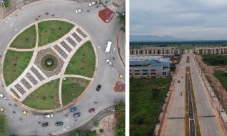 La Glorieta de los Músicos y la Avenida Emiliano Zuleta Baquero que hoy serán inauguradas en Valledupar.