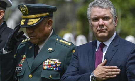 El presidente de la República Iván en la ceremonia de ascensos de 277 alféreces a subtenientes de la Policía, ayer en la Escuela General Santander en Bogotá.