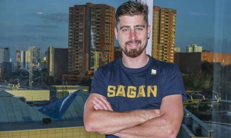 Peter Sagan en su habitación en el hotel Hilton Garden Inn de Barranquilla.
