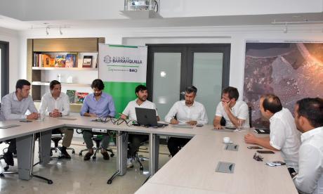 Aspecto de la reunión que se realizó este jueves en la sala de junta de la Alcaldía de Barranquilla.
