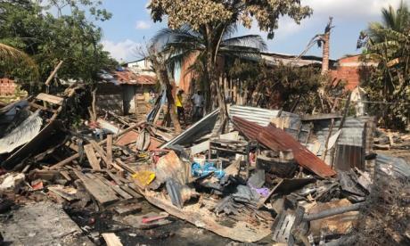 Estado en que quedaron las seis viviendas, cinco de las cuales quedaron totalmente destruidas.