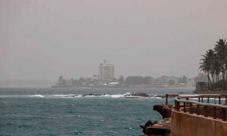 Aspecto de la nube de polvo que cubre Puerto Rico.