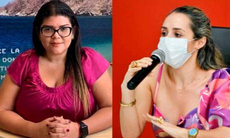 Gina Cantillo, directora de Idetur, y Alejandra Marú, jefa de la Oficina de Turismo del Departamento.