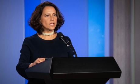 Nancy Patricia Gutiérrez, consejera presidencial para los Derechos Humanos, durante la presentación del segundo informe trimestral.
