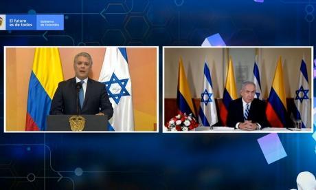 Aspecto del encuentro virtual entre el presidente de Colombia, Iván Duque, y su homólogo israelí Benjamín Netanyahu.