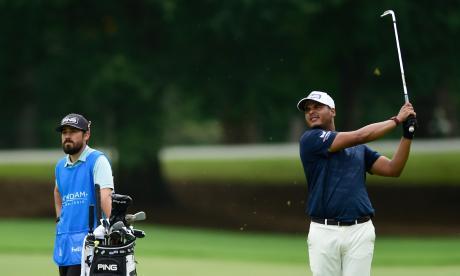 El golfista colombiano Sebastián Muñoz en acción.