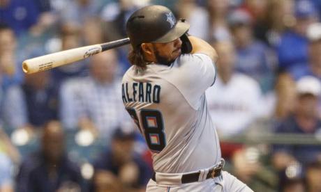 Jorge Alfaro, pelotero colombiano de los Marlins de Miami.