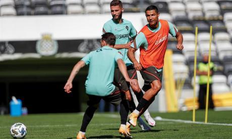 Cristiano Ronaldo en un entrenamiento con la Selección de Portugal.