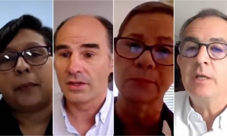 Viany Pérez, macroeditora de EL HERALDO moderador; Juan Camilo Nariño, presidente de la Asociación Colombiana de Minería; Claudia Bejarano, presidente de Cerrejón; y José Miguel Linares, presidente de Drummond.