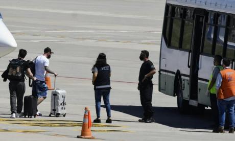 Leo Messi, a su llegada a Rosario.