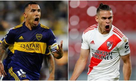 Carlos Tévez, figura de Boca Juniors y el colombiano Rafael Santos Borré, goleador de River Plate.