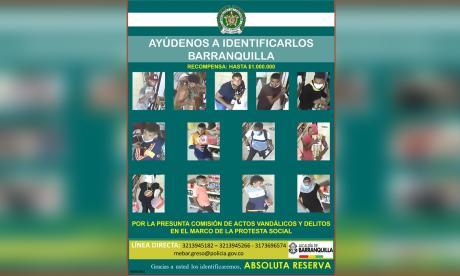 Este es el cartel de los más buscados por vandalismo en Barranquilla